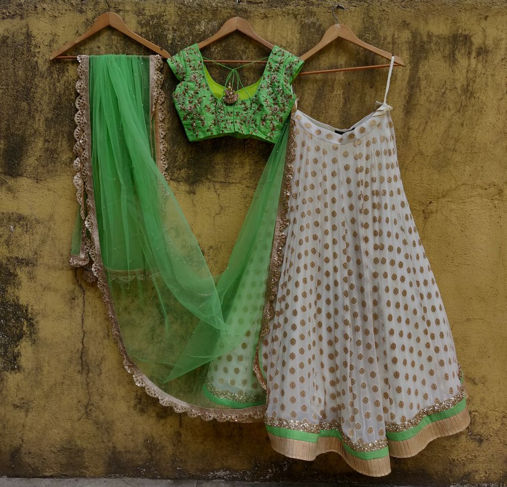 Green and Ivory Ruffle Lehenga