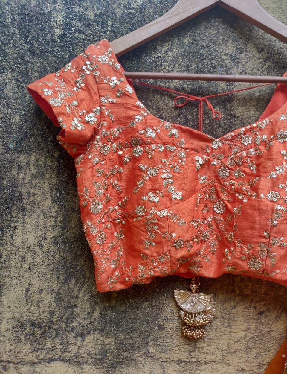 Orange and Ivory Ruffle Lehenga - Fashion Brand & Designer Priti Sahni 3