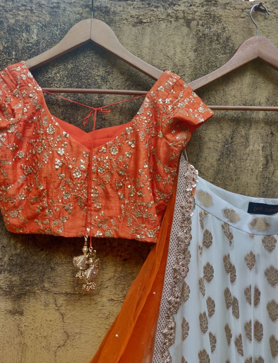 Orange and Ivory Ruffle Lehenga - Fashion Brand & Designer Priti Sahni 4