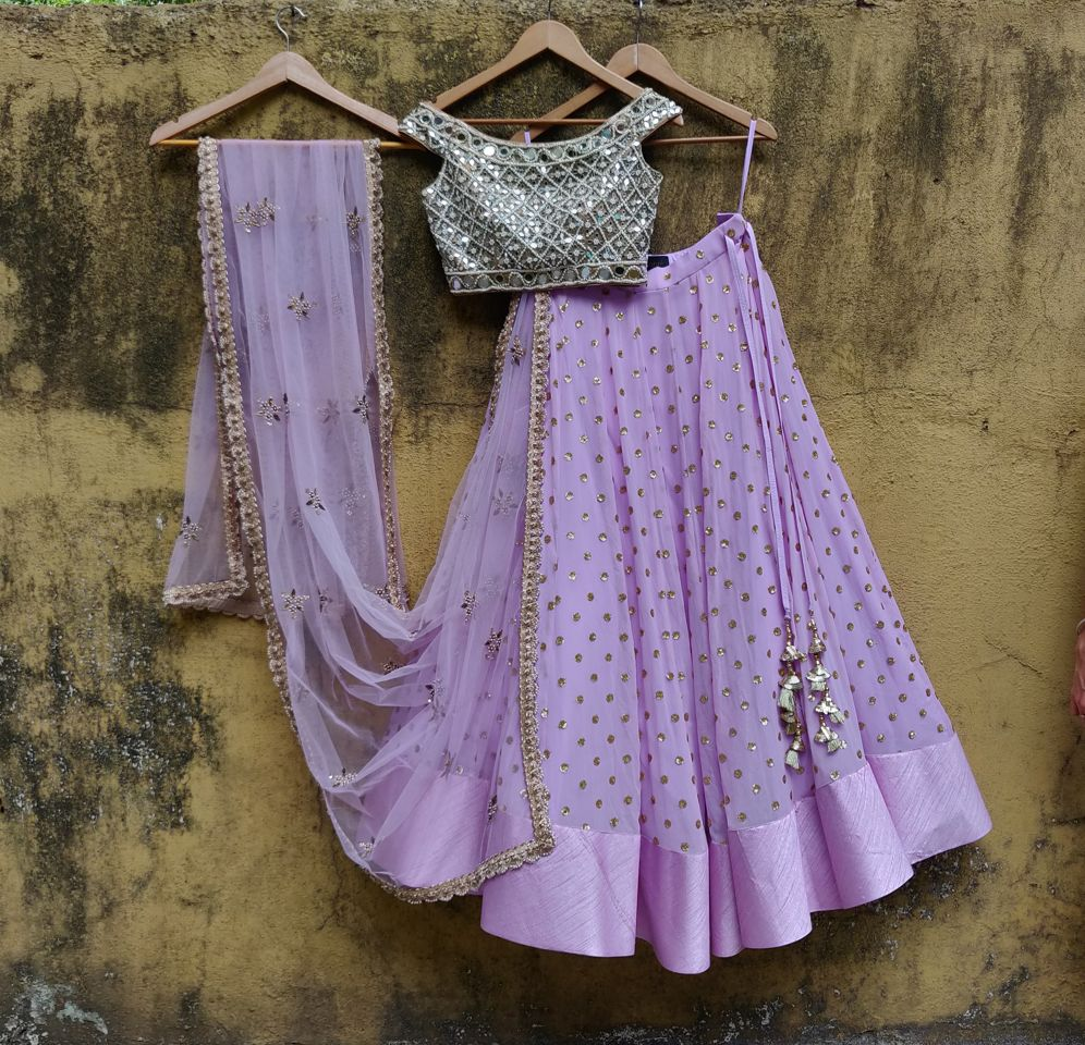 Lavender and Mirror Lehenga Set