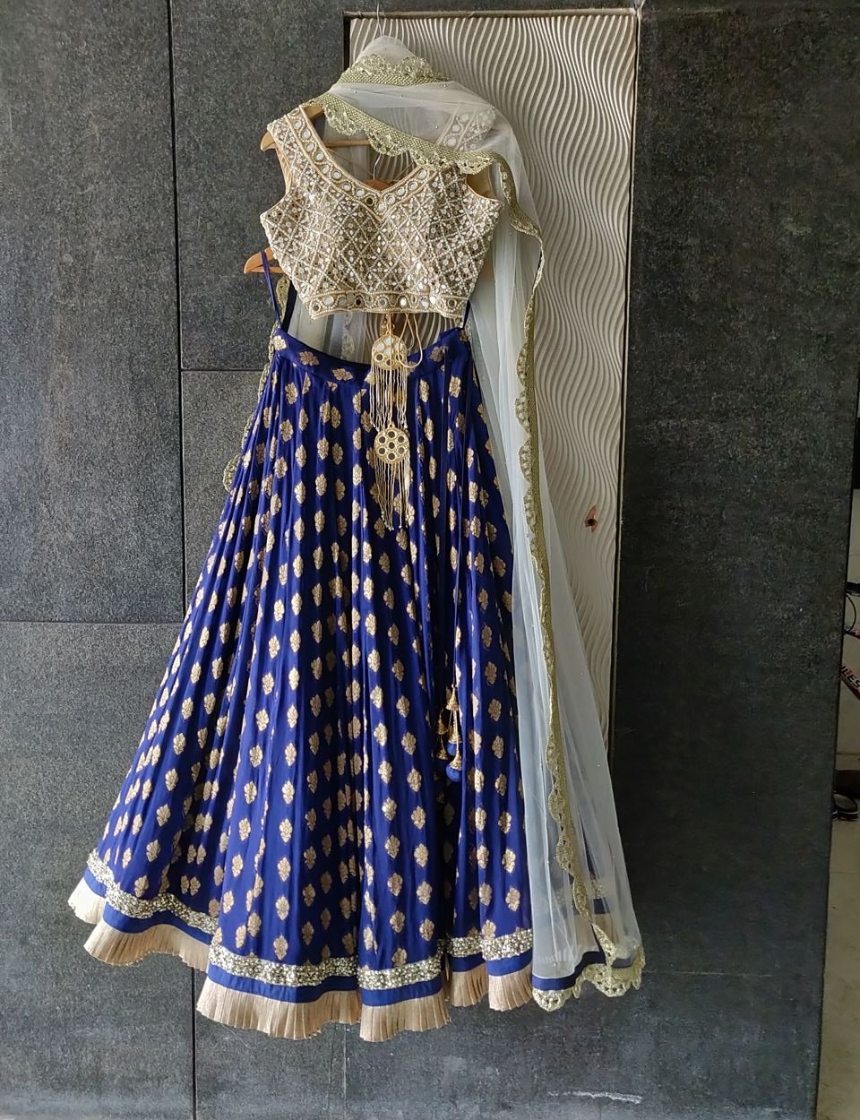 Blue Ruffle Lehenga Mirror Blouse