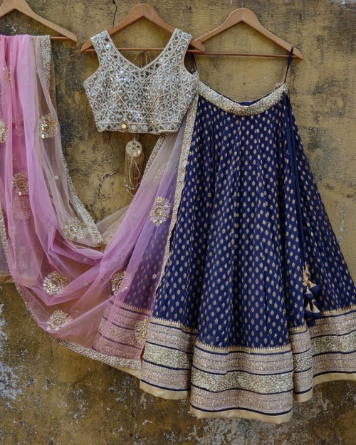 Blue and Mirror Lehenga