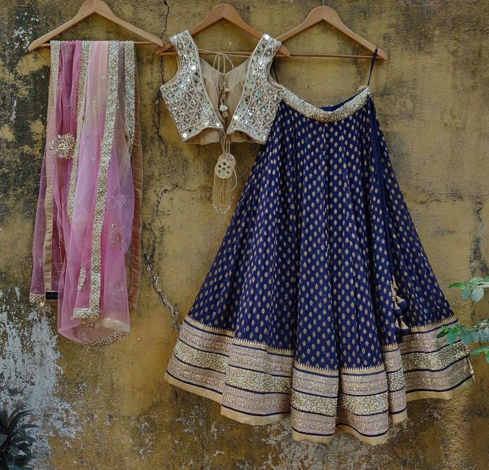 Blue and Mirror Lehenga - Fashion Brand & Designer Priti Sahni 2