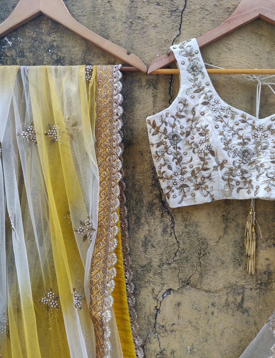 Ivory Ruffle Lehenha Set with Shaded Dupatta