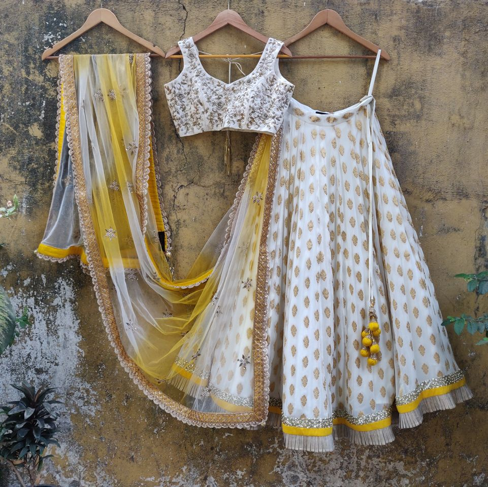 Ivory Butti Georgette Lehenga Set with Yellow Shaded  Dupatta