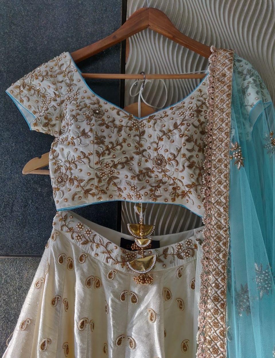 Ivory and Turquoise Raw Silk Lehenga