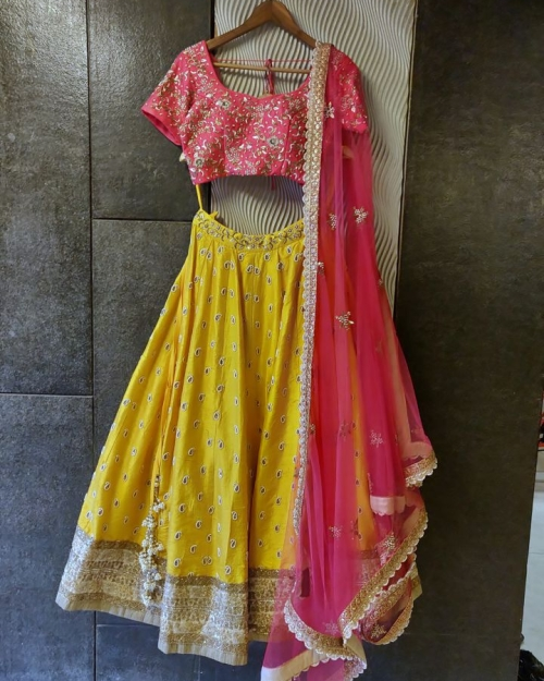 Yellow and Pink Raw Silk Lehenga