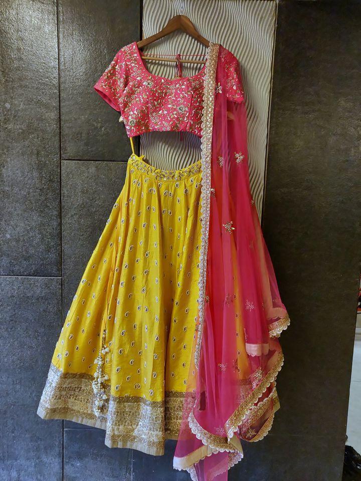 Yellow and Pink Raw Silk Lehenga