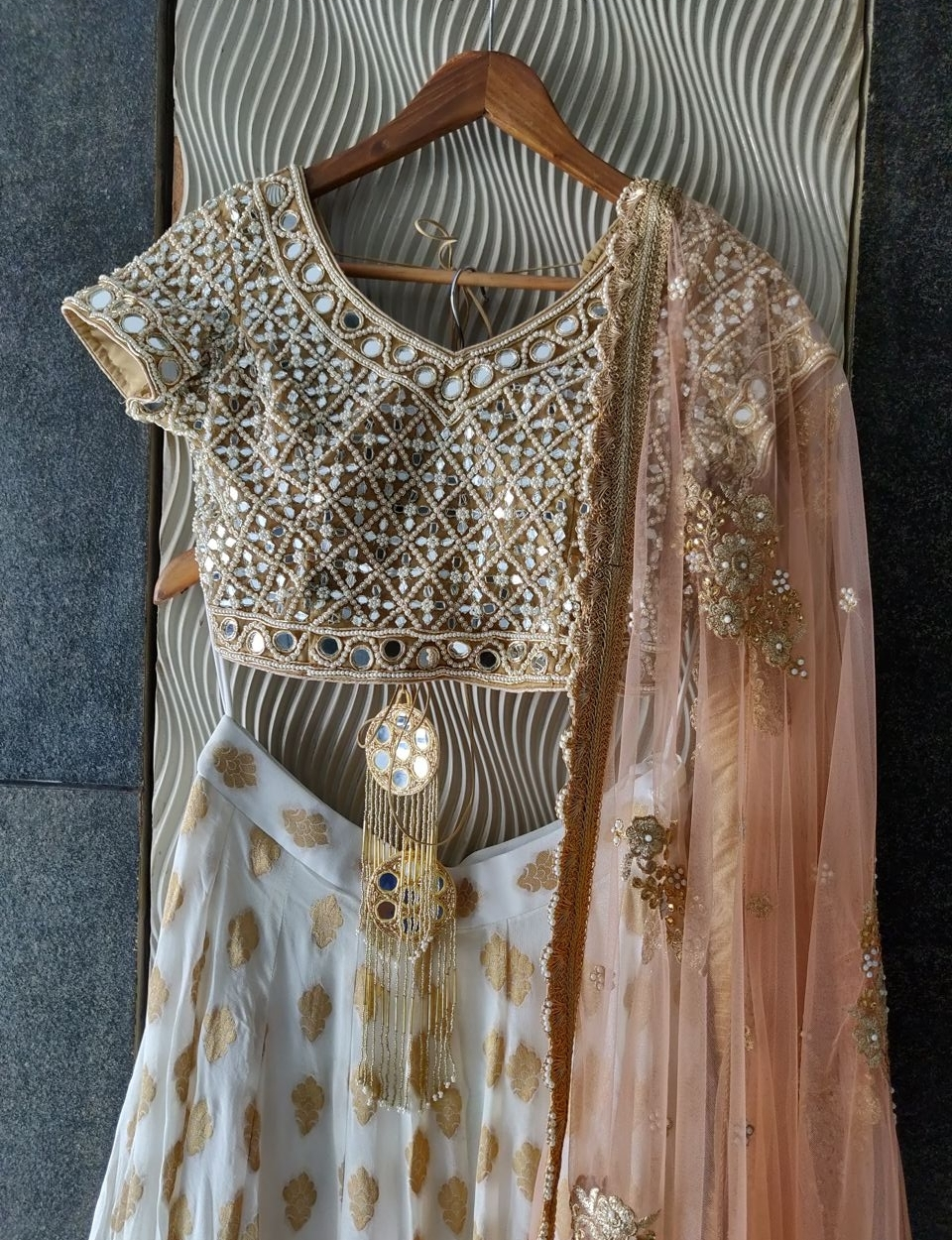 Ivory and Mirror Lehenga Set