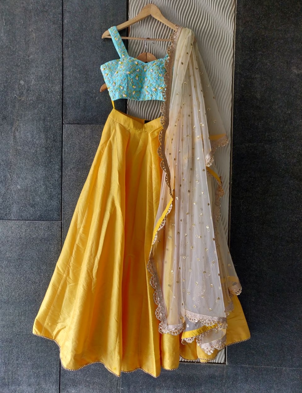 Yellow and Sky Blue Lehenga