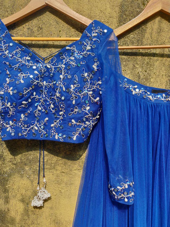 Indigo Blue Net Ruffle Lehenga Set