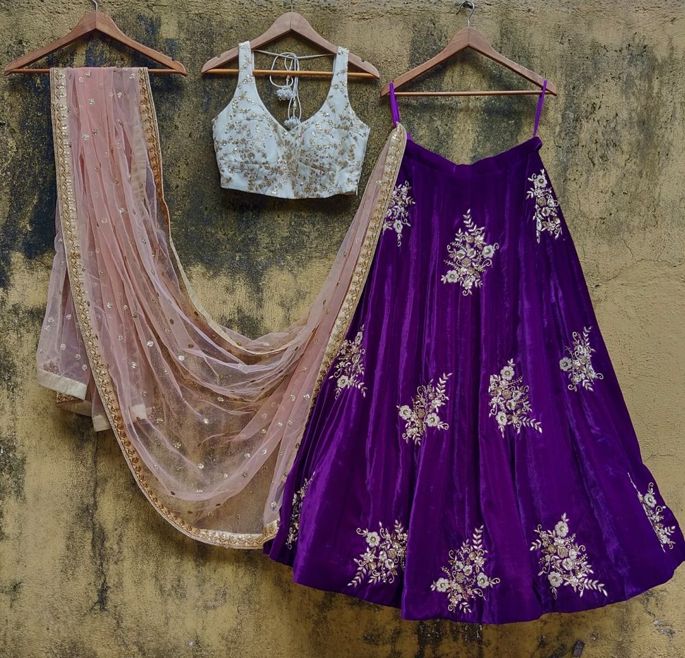 Purple Velvet and Ivory Lehenga Set
