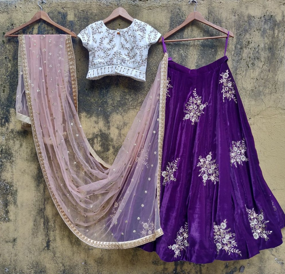 Purple Velvet Lehenga and Ivory Ruffle Blouse Set