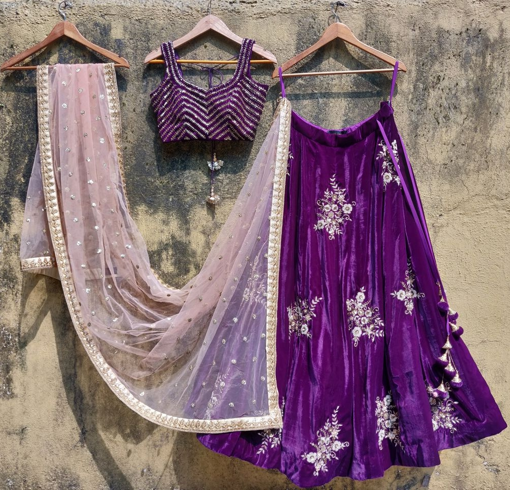 Purple Velvet Lehenga Set with Peach Dupatta