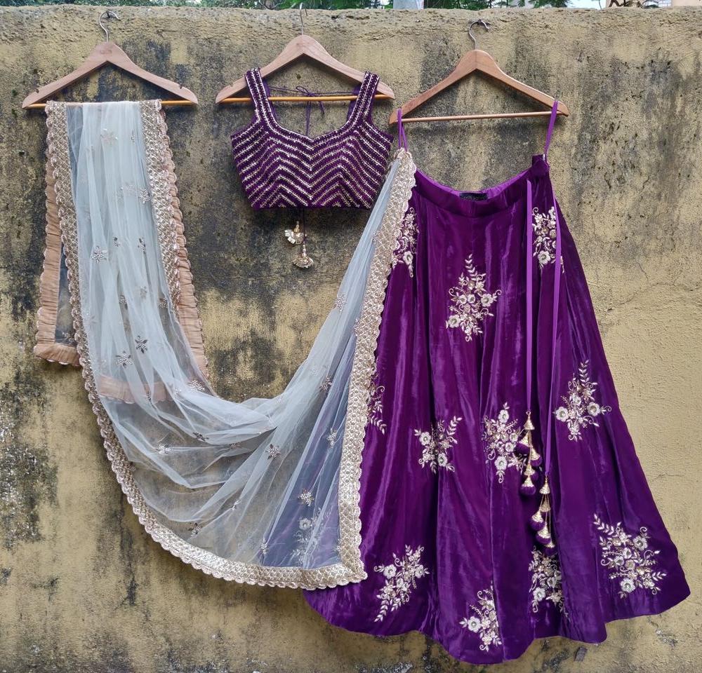 Purple Velvet Lehenga Set with Ivory Dupatta