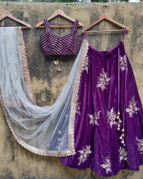 Purple Velvet Lehenga Set with Ivory Dupatta - Fashion Brand & Designer Priti Sahni