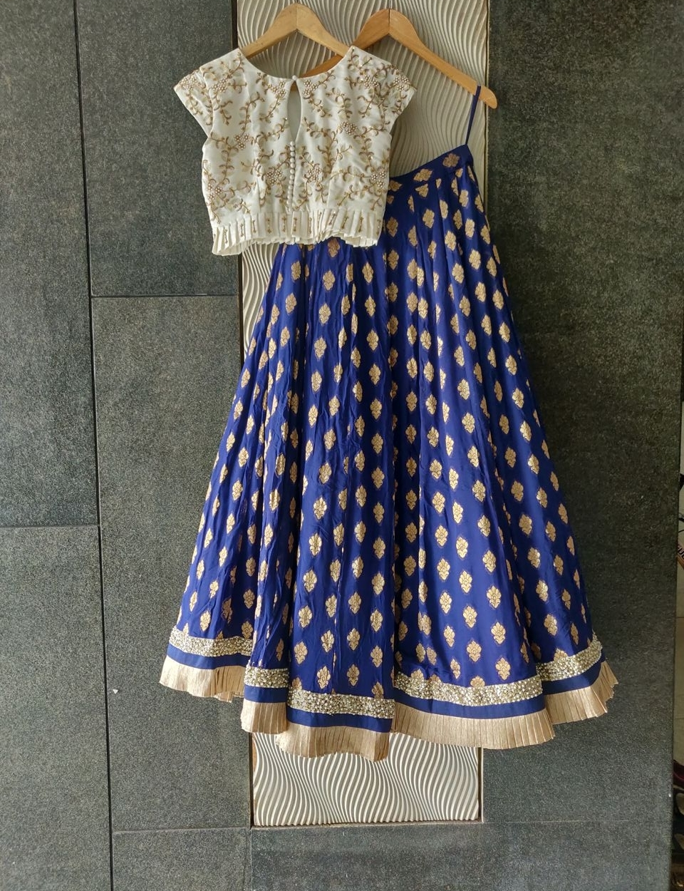 White and Blue Ruffle Lehenga with Peach Dupatta