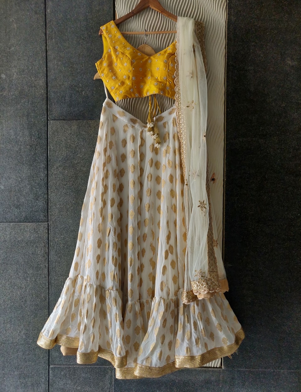 Mustard and Ivory Lehenga Set