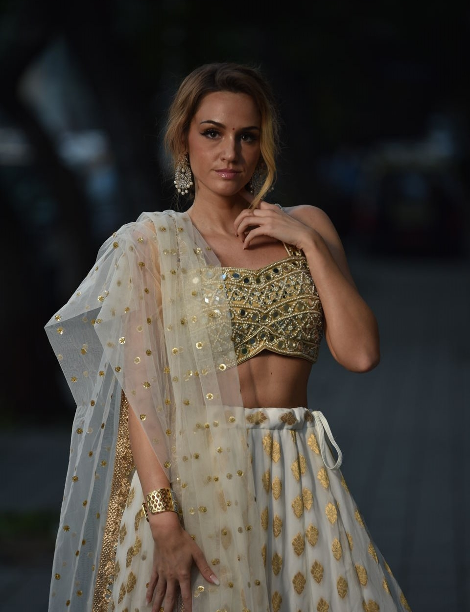 Ivory and Mirror Bustier Lehenga Set