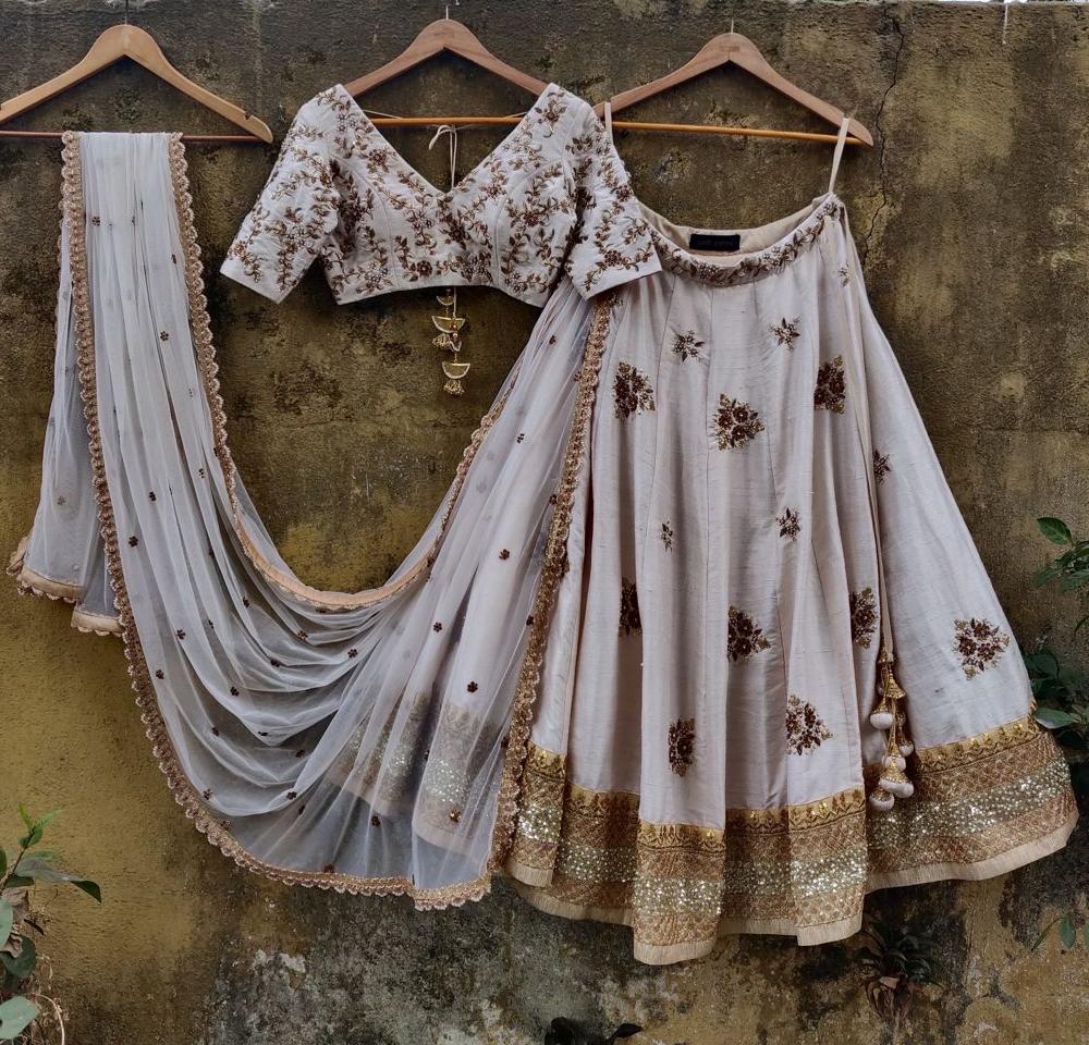 Ivory Bridal Lehenga Set with Antique Work - Fashion Brand & Designer Priti Sahni 4