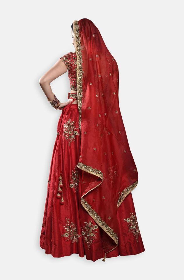Red Bridal Lehenga Set - Fashion Brand & Designer Priti Sahni 4