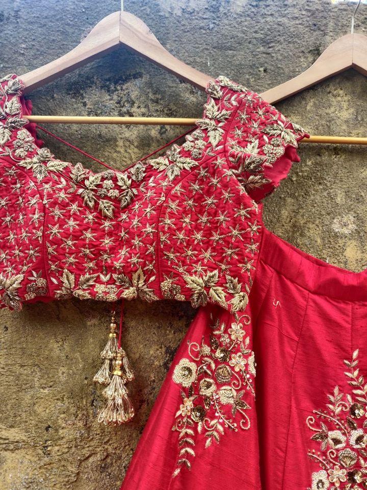 Red Bridal Lehenga Set - Fashion Brand & Designer Priti Sahni 8