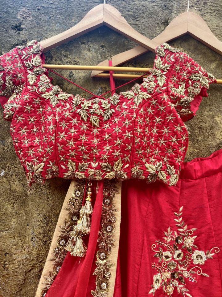 Red Bridal Lehenga Set - Fashion Brand & Designer Priti Sahni 9