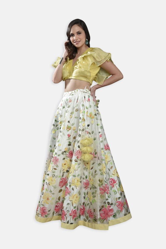 Ivory Hand Painted Lehenga - Fashion Brand & Designer Priti Sahni 2