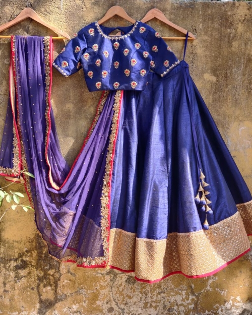Royal Blue Raw Silk Lehenga