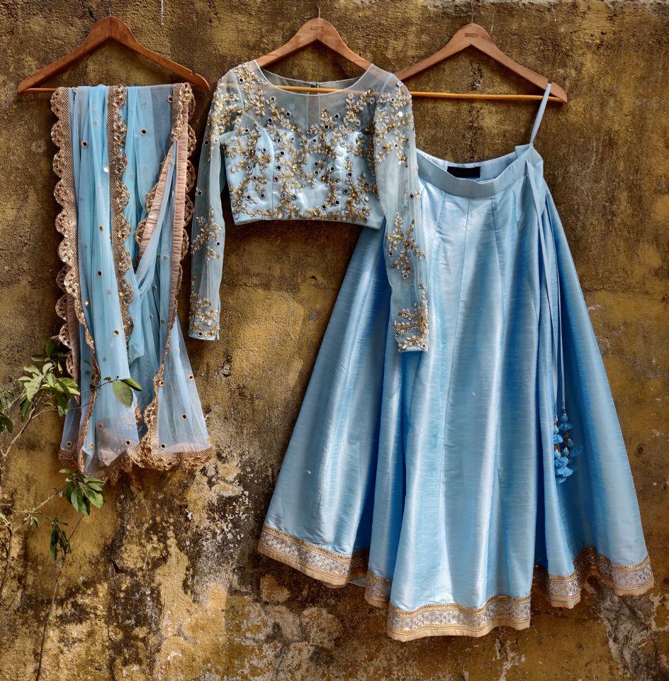 Aqua Blue Mirror Work Lehenga