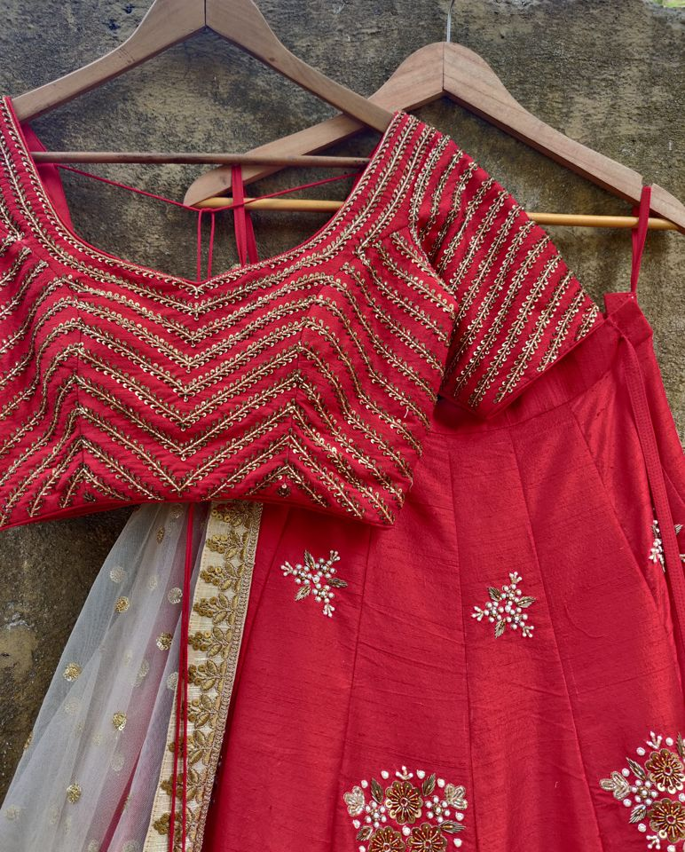 Red Chevron Zardozi Work Lehenga