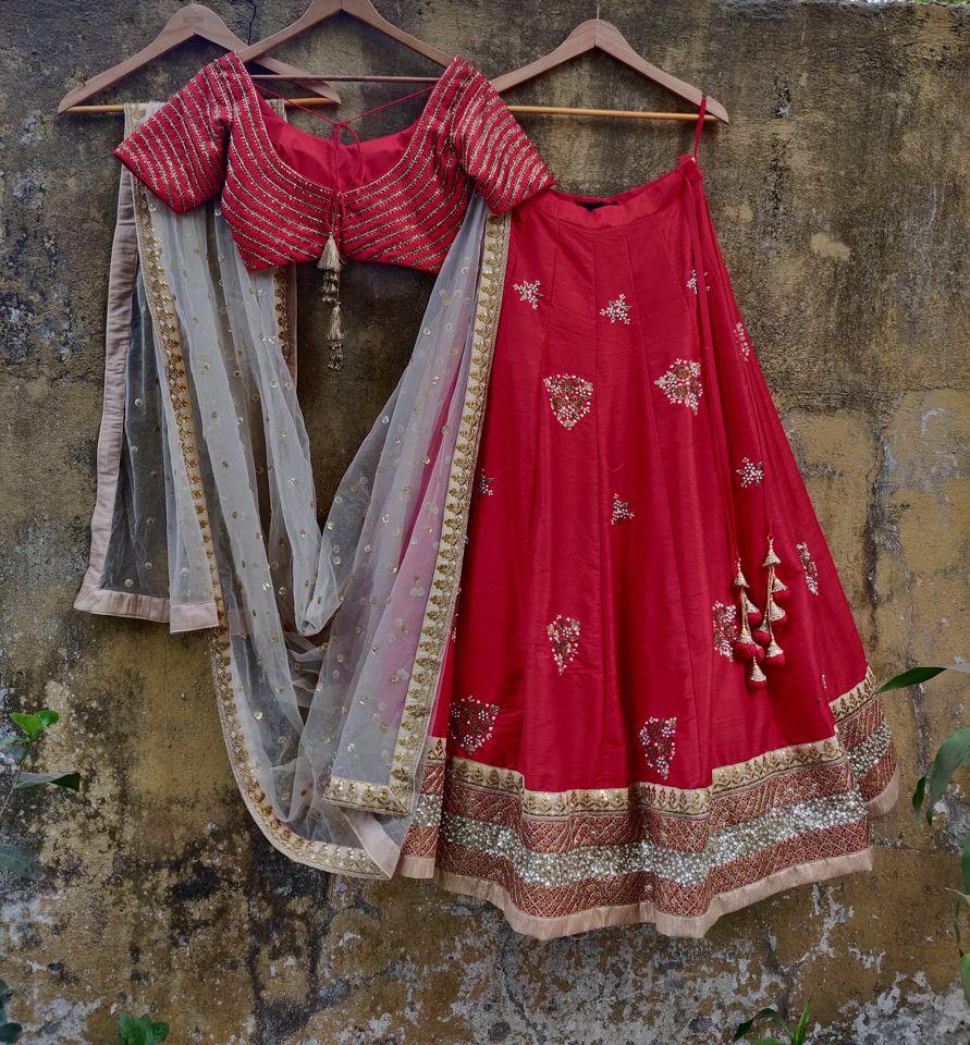 Red Chevron Zardozi Work Lehenga - Fashion Brand & Designer Priti Sahni 5