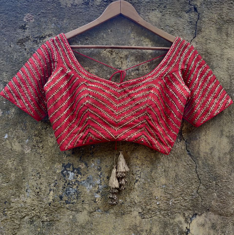 Red Chevron Zardozi Work Lehenga - Fashion Brand & Designer Priti Sahni 3