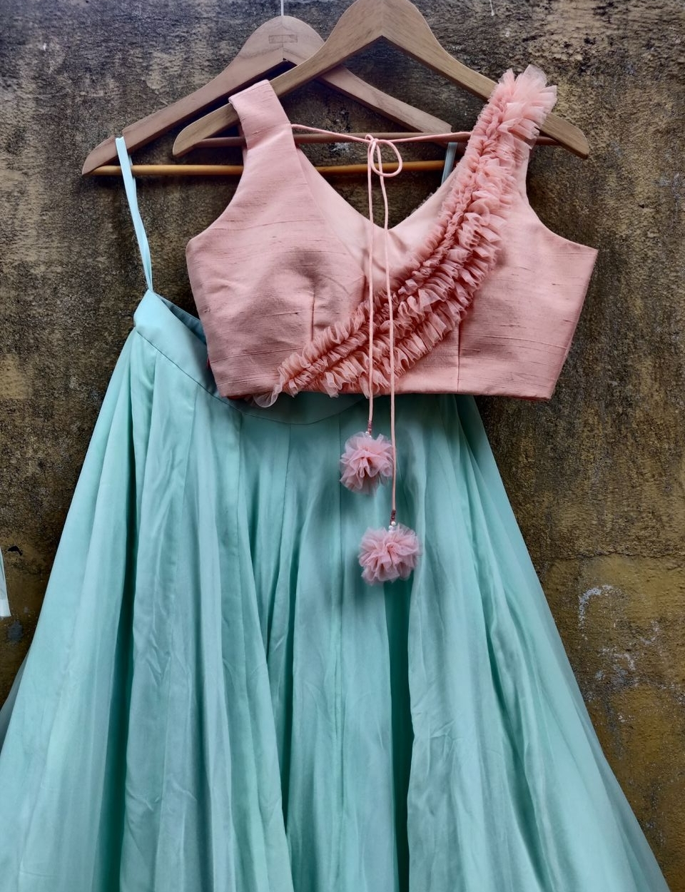Mint Green and Peach Lehenga with Jacket