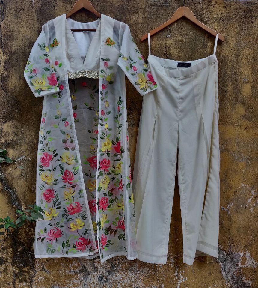 Ivory Palazzo with Hand Painted Long Jacket - Fashion Brand & Designer Priti Sahni 8