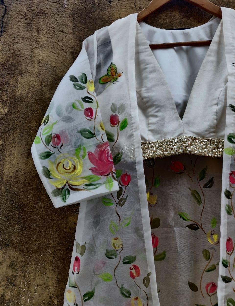 Ivory Palazzo with Hand Painted Long Jacket