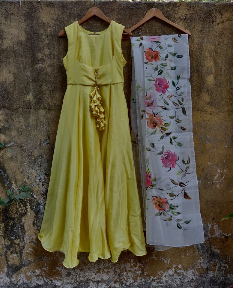 Lemon Anarkali with Hand Painted Dupatta - Fashion Brand & Designer Priti Sahni