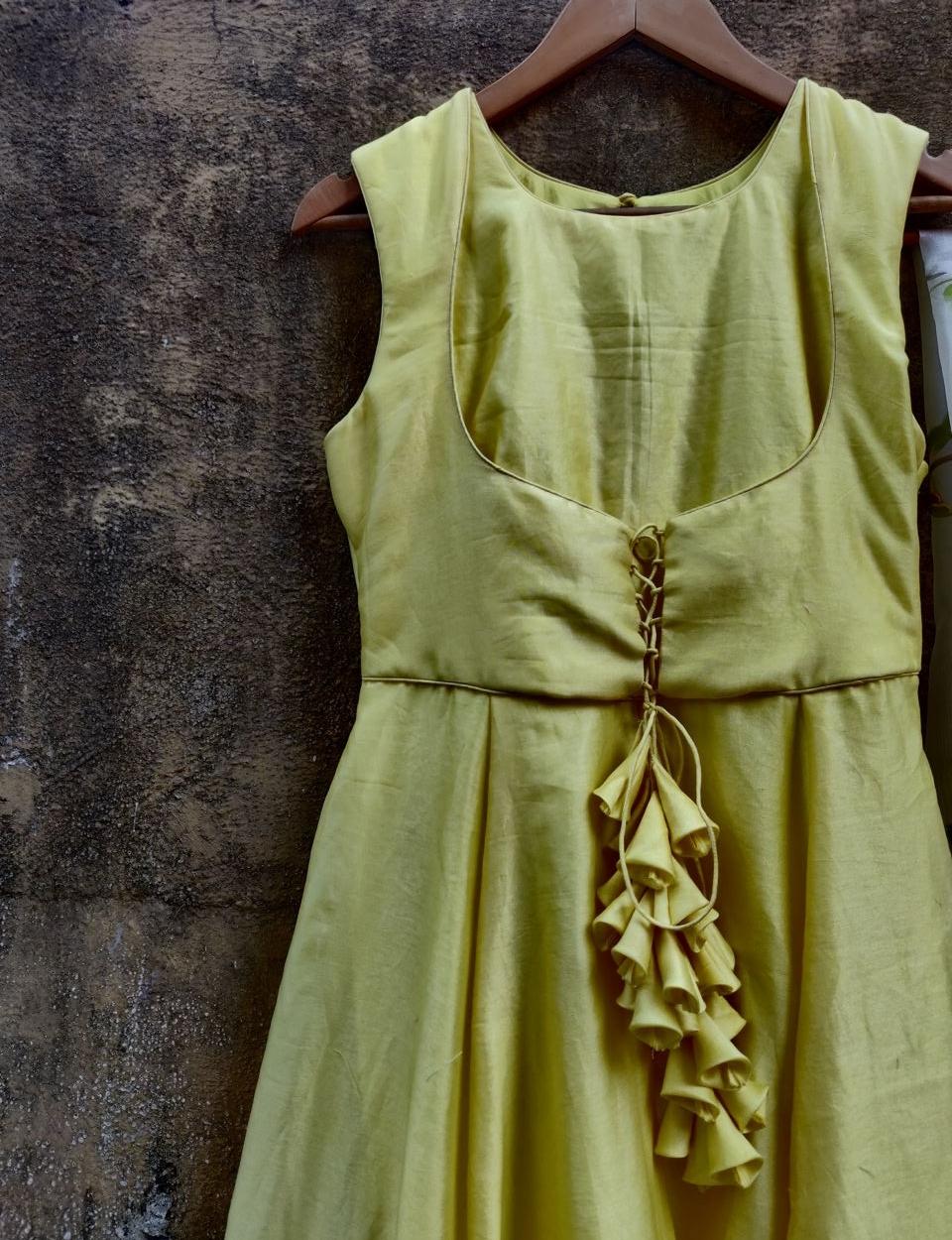Lemon Anarkali with Hand Painted Dupatta - Fashion Brand & Designer Priti Sahni 6