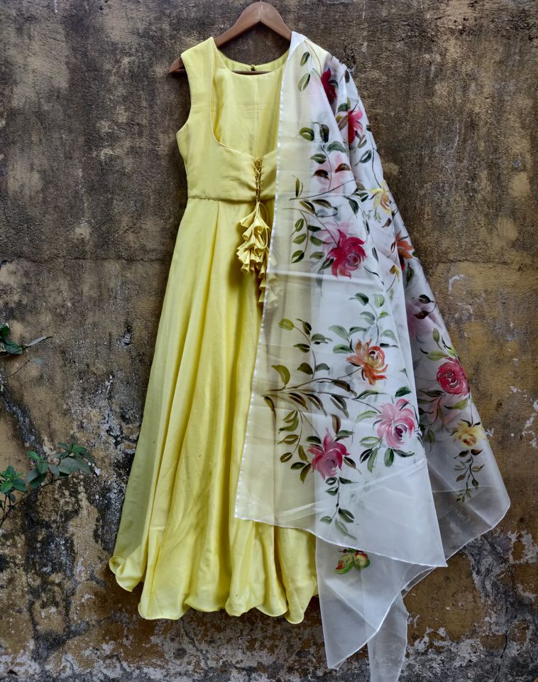 Lemon Anarkali with Hand Painted Dupatta - Fashion Brand & Designer Priti Sahni 2