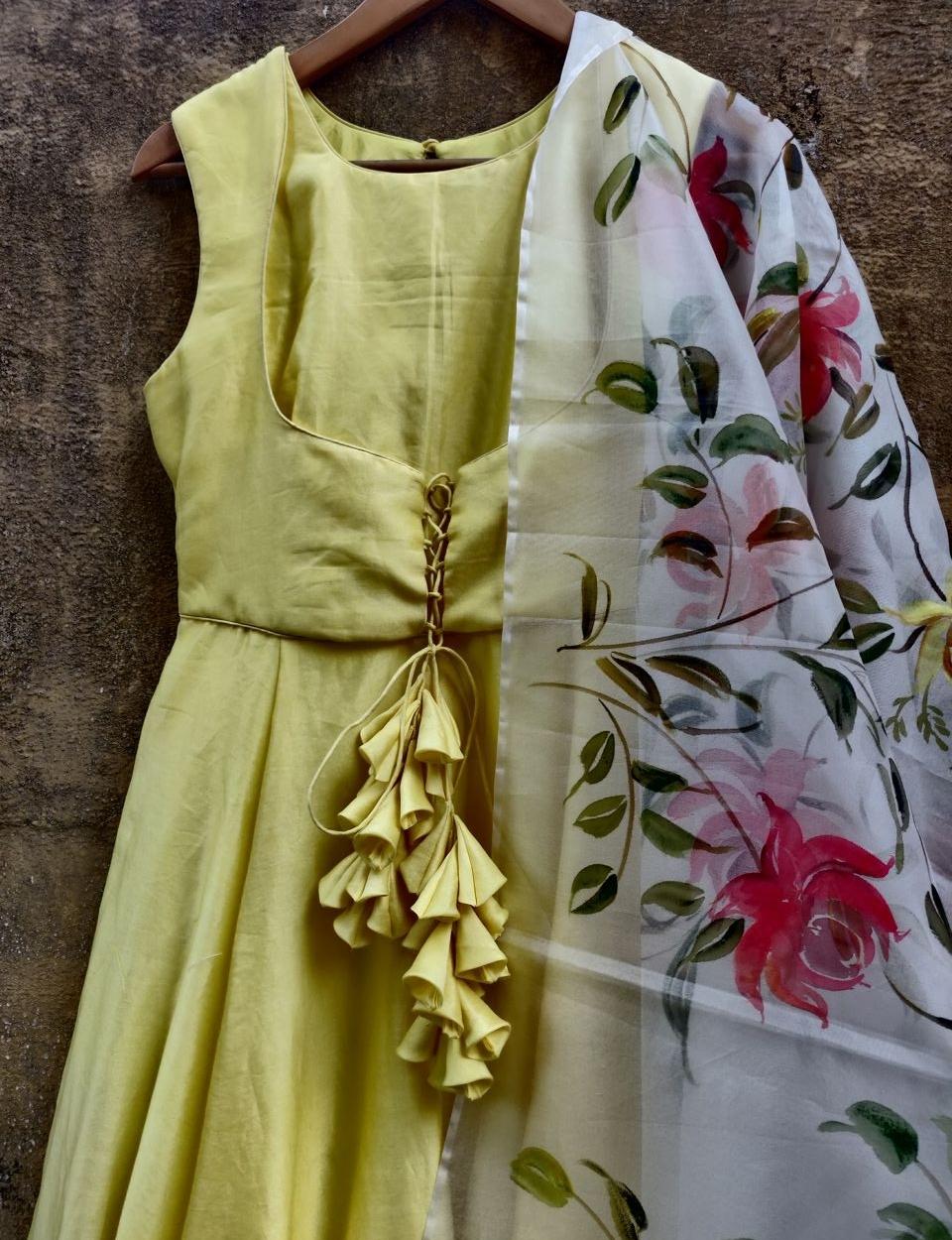 Lemon Anarkali with Hand Painted Dupatta - Fashion Brand & Designer Priti Sahni 3