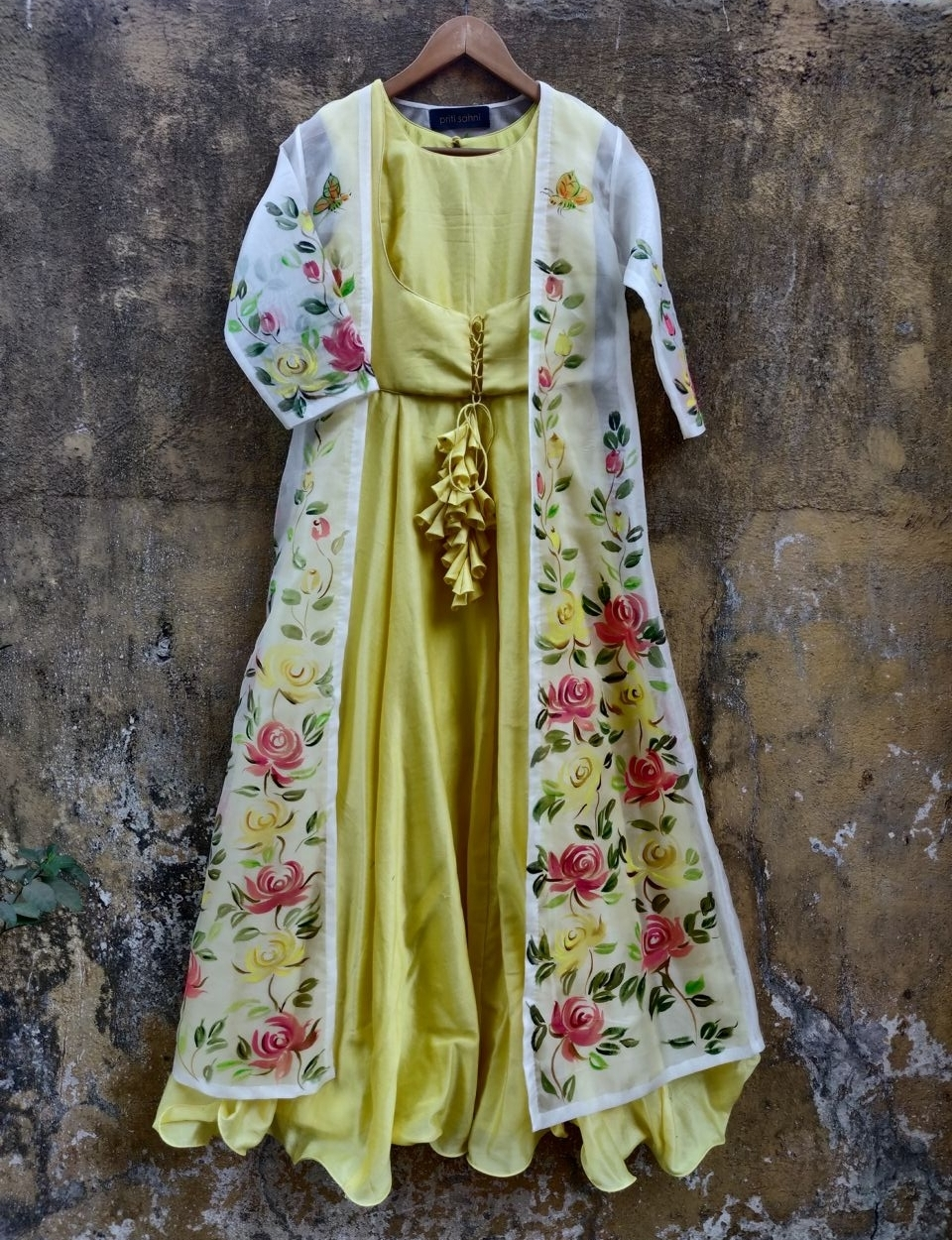 Lemon Anarkali with Hand Painted Jacket