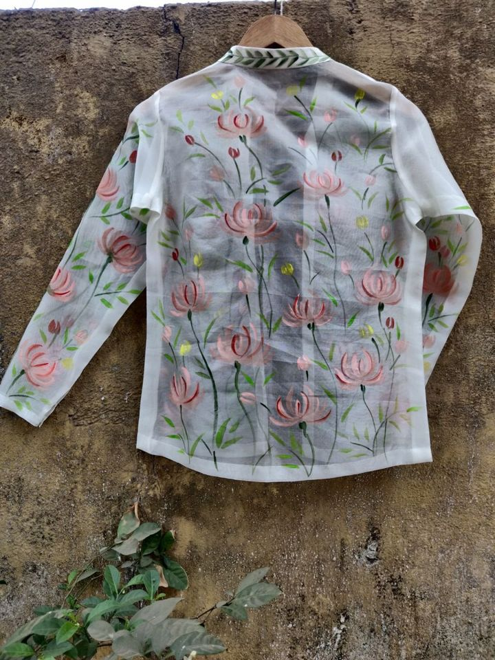 Ivory Palazzo with Hand Painted Short Jacket