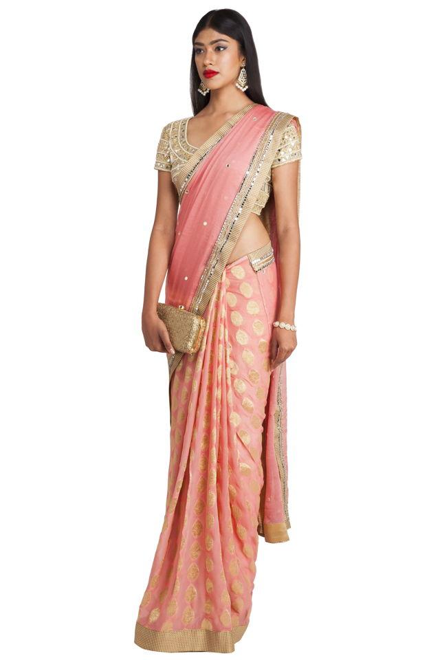 Blush Pink Half and Half Saree