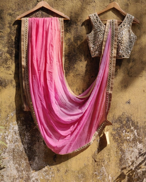 Peach Pink Ombre Georgette Mirror Work Saree