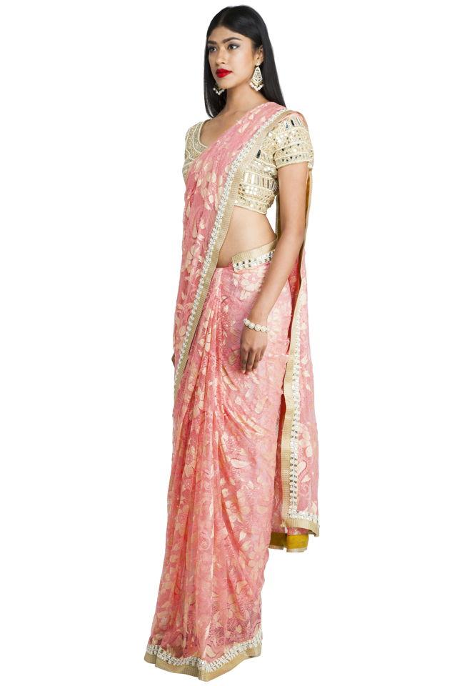 Pink Chantilly Saree