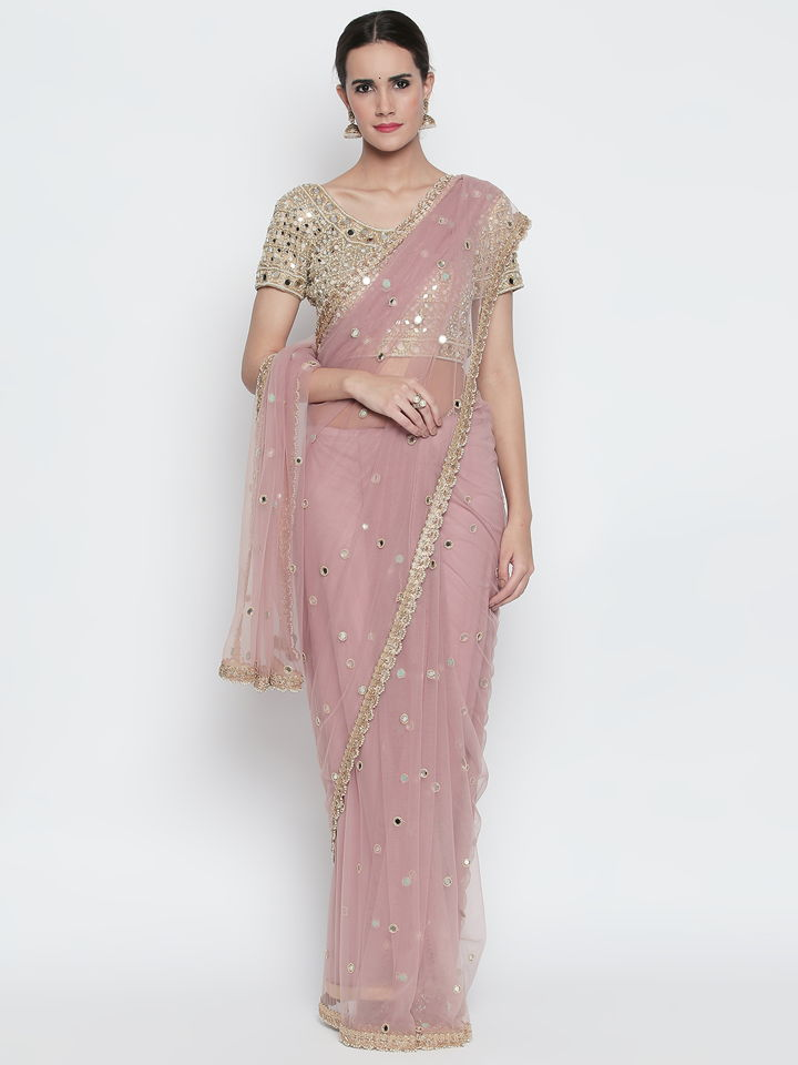 Lilac Net Saree