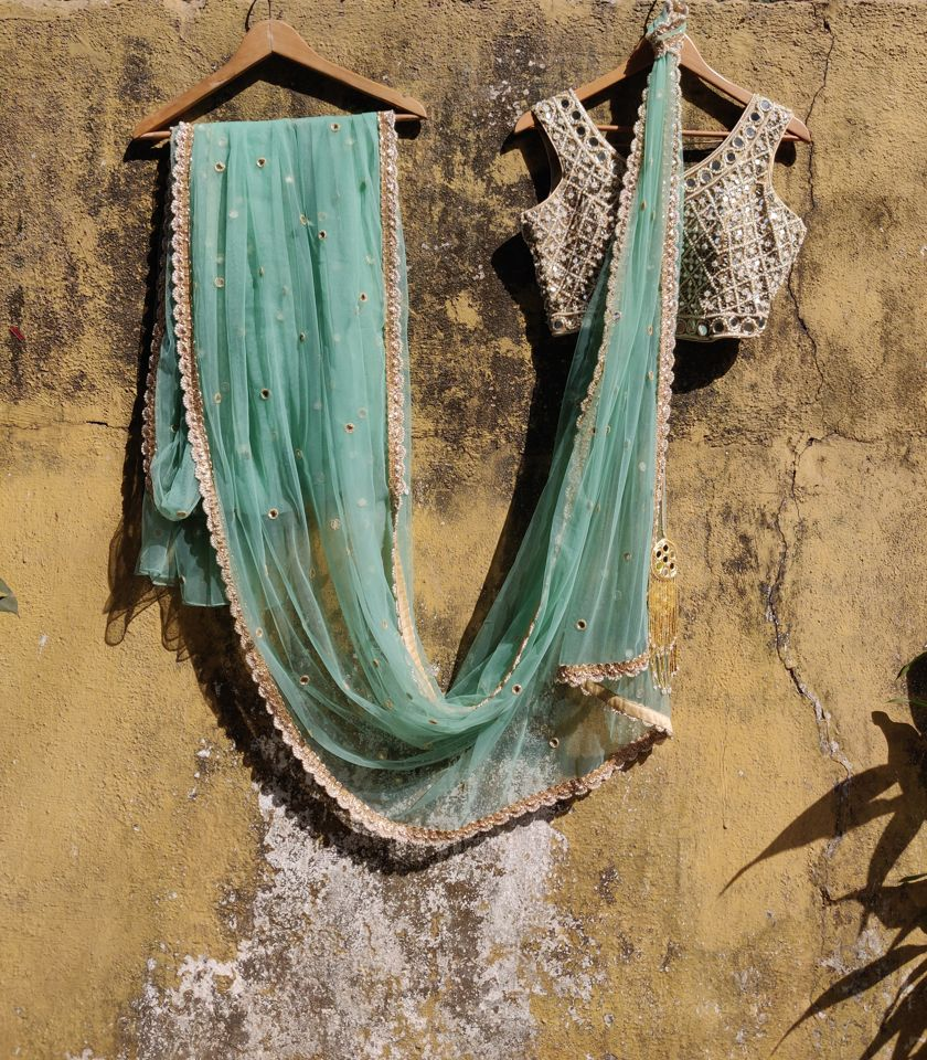 Teal Net Saree
