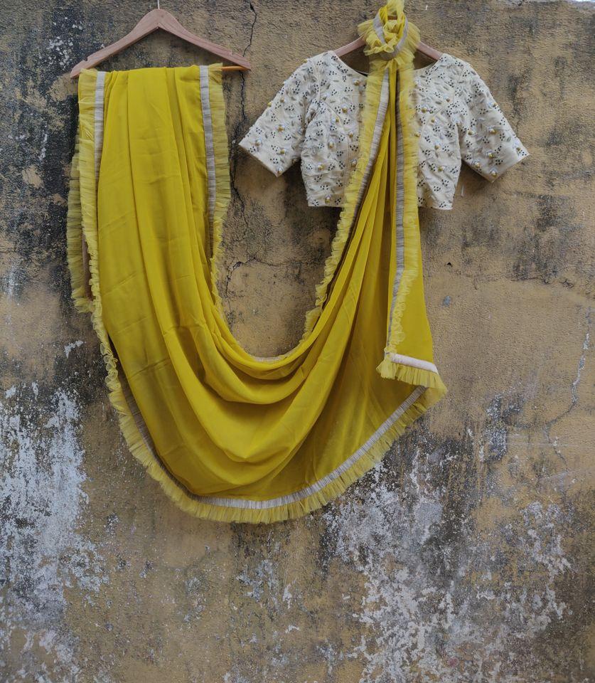 Mustard Ruffle Saree