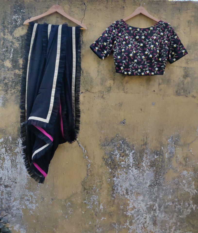 Black Ruffle saree