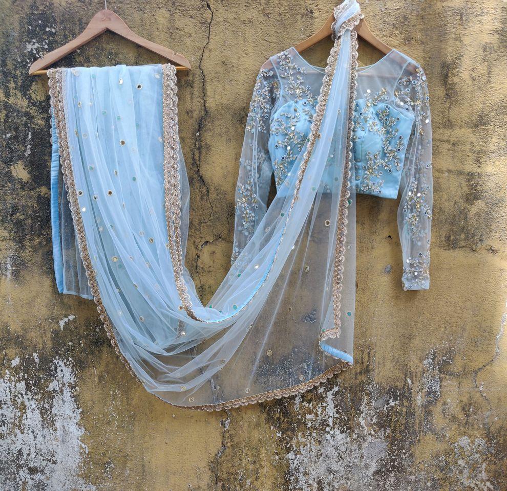 Sky Blue Net Saree